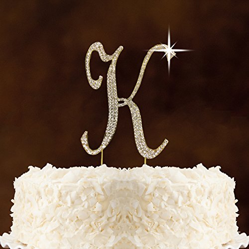 Crystal Letter Cake Toppers (Rhinestone Crystal Cake Topper Silver, Numbers, Letters for Wedding, Birthday, Anniversary, Party. Shine & Sparkles. PREMIUM RHINESTONE. BEST OFFER ON AMAZON. (Gold Letter K))