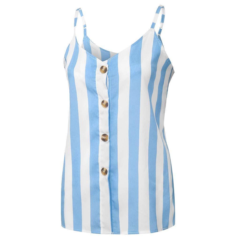 Classics Damen T-Shirt V-Ausschnitt Weste Gestreifte Button Down Tr/ägershirts Lose /ärmellose Blusen