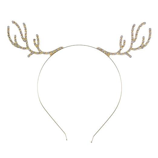 DJHbuy Christmas Rhinestone Reindeer Antlers Headband Party Metal Hair Accessories