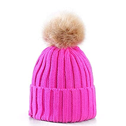 Women Ladies Winter Pom Pom Hat Cosy Beanie Warm Winter Cap Pom Pom Bobble  Hat (HOT PINK)  Amazon.co.uk  Kitchen   Home ad7cce8e57f