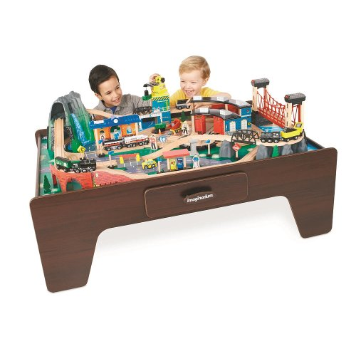 Imaginarium mountain rock train table gosale price for 100 piece mountain train set and wooden activity table