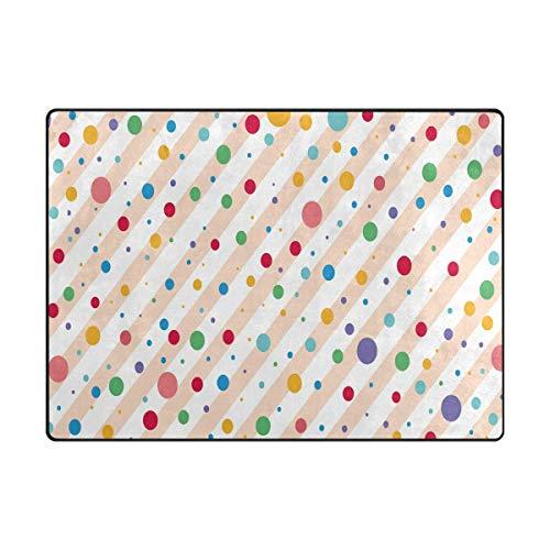 Area Rugs Polka Dots Pattern White Pink Stripe Indoor/Outdoor Floor Mat Livingroom Bedroom Sofa Carpet Non Slip Home Hotel Large Custom Area Rug Mat 5.25'x4' ()