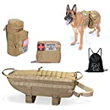 Tactical Backpack - Hanshengday Tactical Dog Vest-Training Molle Harness-tactical dog backpack-Pet tactical -vest Detachable Pouches-Relective Patches