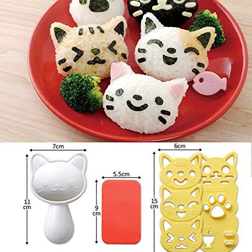 KathShop 3Pcs Cute Smile Cat Sushi Nori Rice Mold Decor Cutter Bento Maker Sandwich DIY Tool