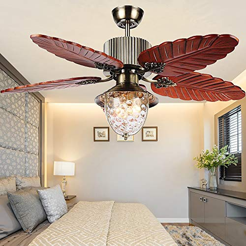 (Andersonlight Palm 52-Inch Tropical Indoor Ceiling Fan with LED Bowl Light & Remote Control Fan, Five Hand Carved Wooden Leaf Blades, Quiet Home Fan Chandelier Light, 52 inches, Antique Brass)