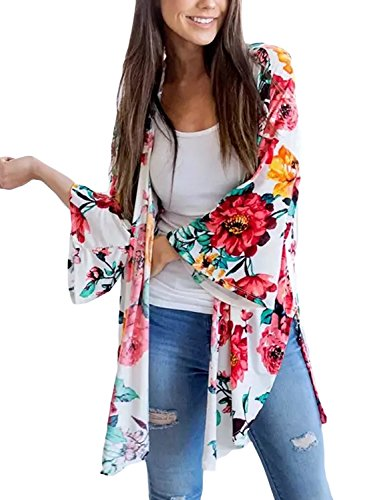BLENCOT Women's Floral White Kimono Loose 3/4 Sleeve Casual Chiffon Cardigan Blouse Tops XL (Chiffon Floral)