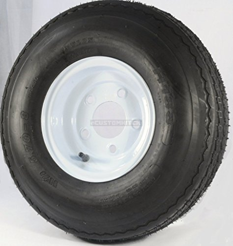 2-Pk eCustomrim Trailer Tire & Rim 570-8 5.70-8 8″ Load C 5 Lug White 39326