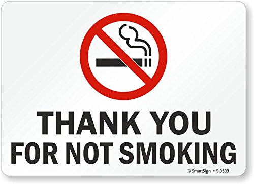 Smartsign S-9599-AL-14Thank You for Not Smoking Aluminum Sign