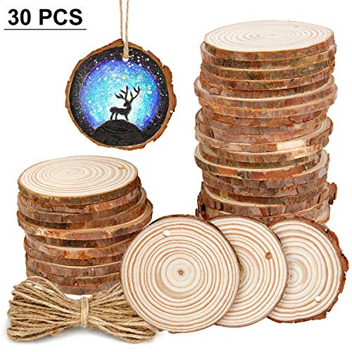 30Pcs 2.4-2.8 Natural Wooden Slices,Colovis Unfinished Wood Circles with Holes Tree Bark Round Log Discs DIY Crafts Hanging Ornaments for Holiday Festival Wedding Party Home Decor Handmade DIY Craft
