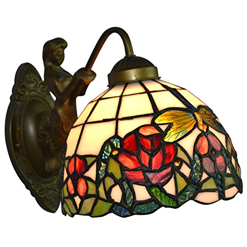 Stained Glass Wall Lamp Shades : Wall Porch Lamp Floral Stained Glass Shade and Metal Sconce - NMJ100 - tiffany lamps