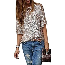 Women Sequins Off Shoulder Short Sleeve Tee