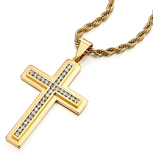 Mens Women Large Gold Color Cross Pendant Necklace Steel with (Cubic Zirconia Rope Cross)