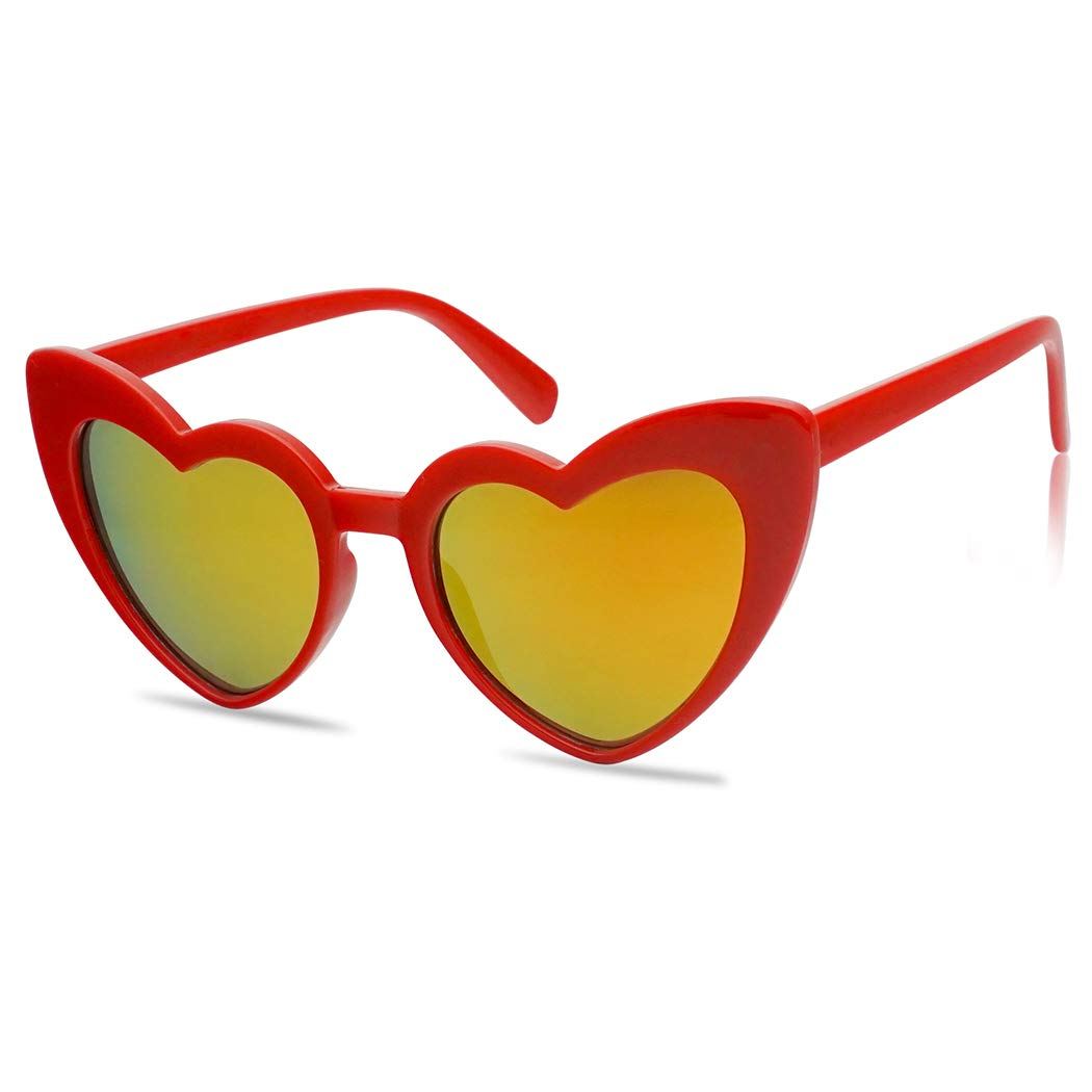 Oversized Lovestruck Round High Tip Heart Shaped Colored Mirror Lens Sunglasses (Red Frame | Fire Red) by SunglassUP
