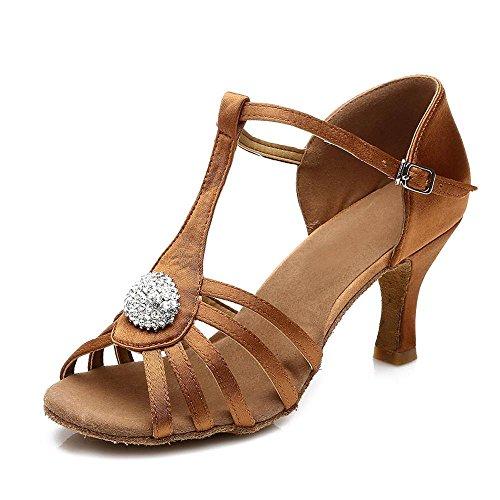 YFF latine femmes 7cm Bal danse chaussures tango de salsa chaussures Brown 8w8ZXqrHv