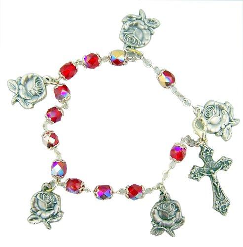 (Silver Tone Miraculous Charm Rosebud 7 1/2-inch Rosary Bracelet)