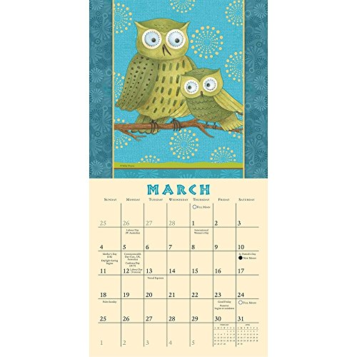Hootenanny Owls by Debbie Mumm 2018 Small Wall Calendar Photo #2