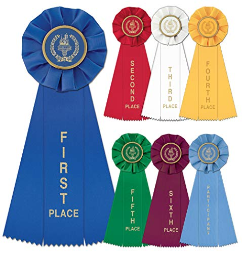 Hodges Badge Company Victory Torch Rosette Ribbons 1st-6th Including Participant Award- Set of 7 (7)