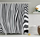 zebra fabric shower curtain - Ambesonne Zebra Print Decor Collection, Zebra Pattern Vertical Striped Nature Wildlife Inspired Fashion Illustration, Polyester Fabric Bathroom Shower Curtain, 84 Inches Extra Long, Black White