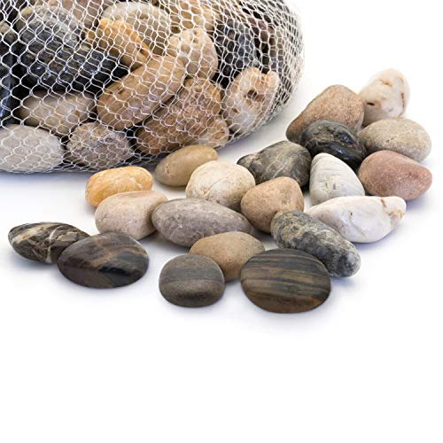 Royal Imports 5lb Large Decorative Polished Gravel River Pebbles Rocks for Fresh Water Fish Animal Plant Aquariums, Landscaping, Home Decor etc. with Netted Bag, - River Rock Designs
