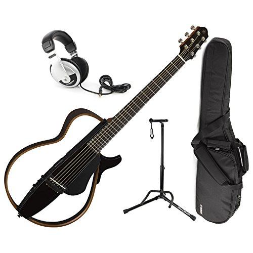 - Yamaha SLG200S TBL Steel String Silent Guitar 2015 New Model (Trans Black) w/ Gig Bag, Stand, and Headphones
