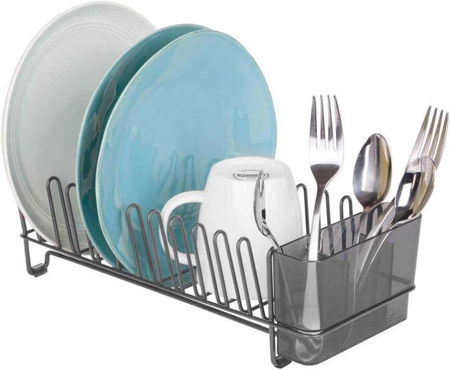 grigio fumo//grigio grafite Scola piatti per lavello delle cucina mDesign Scolapiatti in metallo Sgocciolatoio in metallo con settore per le posate in plastica