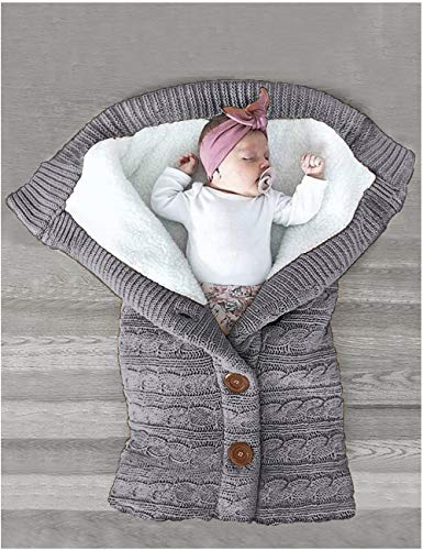 XMWEALTHY Unisex Infant Swaddle Blankets Soft Thick Fleece Knit Baby Girls Boys Stroller Wraps Sleeping Sack Grey