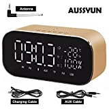 AUSSYUN Mini Portable Multifuntional Bluetooth Super Bass Speaker, Digital Alarm Clock with Thermometer, Dimmable LED Display, Dual Alarm, TF Card Slot, USB Charging Port, FM Radio(Gold)