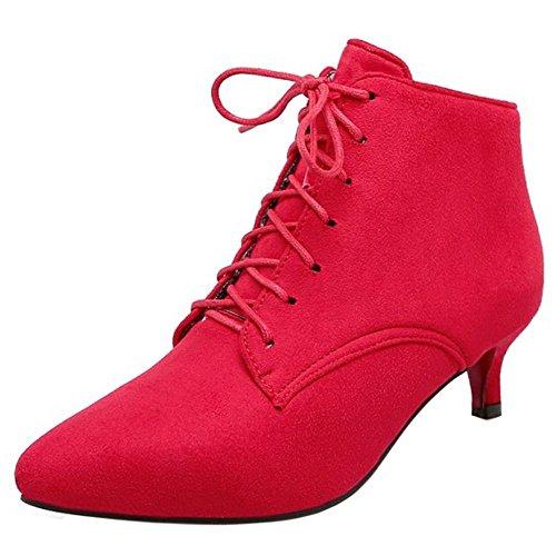 Coolcept Haut Decontracte Kitten Cheville Femmes Heel Lacets Red Bottes A qAqT0r