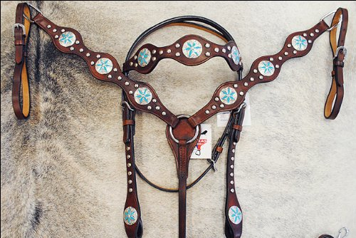 HILASON Western Horse Headstall Breast Collar Set American Leather Blue