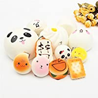 New 12PCS Random Squishy Toy Soft Kawaii Cute Bread Bun Phone Key Chain Charms With Rope By KTOY