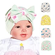 Baby hat with big bow hat bow beanie 0-3 month pack of 4 galabloomer