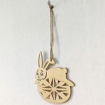 Amazoncom Keebgyy 6pcs Easter Small Pendant Wooden Cutouts Rabbit