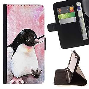 Acuarela pingüino pájaro de bebé Antártida- Modelo colorido cuero de la carpeta del tirón del caso cubierta piel Holster Funda protecció Para Apple (4.7 inches!!!) iPhone 6 / 6S