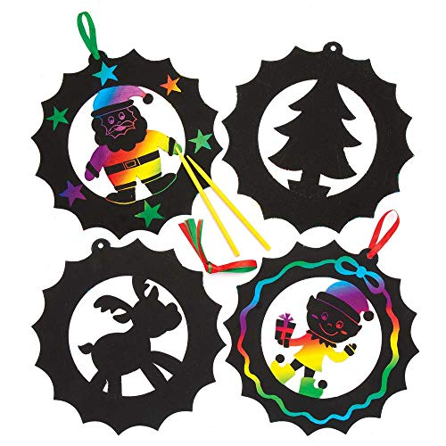 Baker Ross Christmas Wreath Scratch Art Decorations (Pack of 8) for Kids Christmas Crafts and Decorations