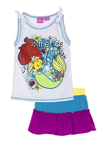 [(651627PRT) Disney Little Mermaid Toddler Girls Ariel Skirt and Top Set in Multi Size: 4T] (Little Mermaid Tutu Dress)