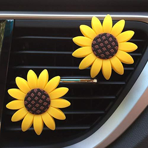 2xPACK Sunflower Car Accesories Cute Car Air Freshener Sunflower Air Vent Clips Sunflowers Gift Decorations Girasoles Car Clip Interior Air Vent Decorations (AA)
