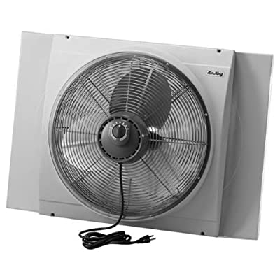 Air King 9166 20 Inch 3560 CFM Whole House Window Mounted Fan with Storm Guard H,