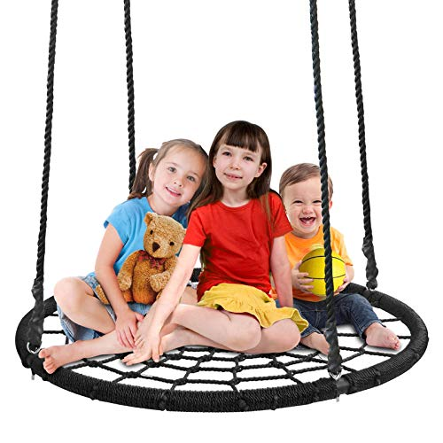 ZENY XXL 48'' Kids Web Tree Swing Spide Net Swing Seat with Adjustable Hanging Rope,Platform Swing for Kids,Attach to Trees or Existing Swing Sets (48'' Swing) (Adult Swing Platform)