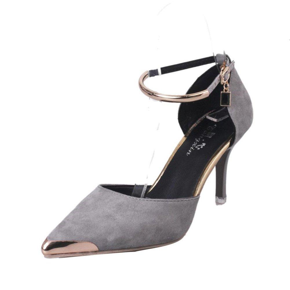 CYBERRY.M Les Femmes Pointues Pointues De Boucle D Orteil Gris De Sangle Talons Hauts Chaussures De Style Chaussures De Mariage Gris ee62b3d - latesttechnology.space