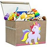 Hurricane Munchkin Large Toy Chest | Canvas Soft Storage Bin with Lid for Toy Storage, Books, Stuffed Animal, Clothes| Princess Girls Toy Box for Girls Nursery, Bedroom |14'x 15'x 21' (Unicorn)