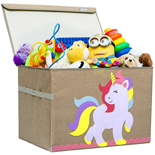 Hurricane Munchkin Large Toy Chest. Canvas Soft Storage Bin with Lid for Toy Storage, Books, Stuffed Animal, Clothes. Princess Girls Toy Box for Girls Nursery, Bedroom 14