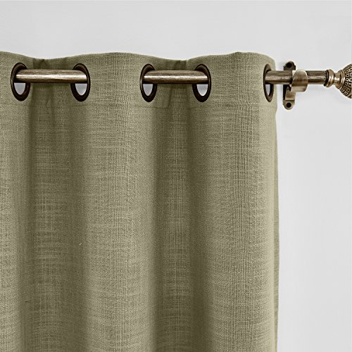 (ChadMade 100W x 84L Inch Taupe Grey Faux Linen Curtain Drapes with Blackout Lining, Room Darkening Antique Bronze Grommet Curtain for Sliding Glass Door Patio Door Living Room (1 Panel))