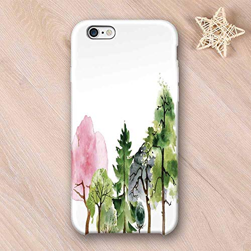 Forest Frosted & Smooth Surface Compatible with iPhone Case,Colorful Forest with Oak and Willow Growth Purity Nobility in Mother Earth Theme Art Compatible with iPhone 7/8 Plus,iPhone 6/6s