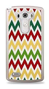 Red Green Yellow Chevron Zig Zag Stripe Pattern Colors Skin Cover White Hardshell Case for LG G3