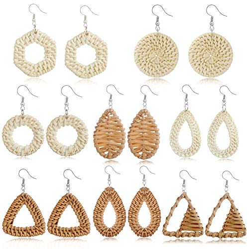 TAMHOO 8 Pairs Statement Big Wicker Rattan Earrings Handmade Straw Hoops Lightweight Woven Earring Bohemia Weave Raffia Braid Drop Dangle Earrings Set Vacation Gift for Women Teens Girls (8 Pairs)