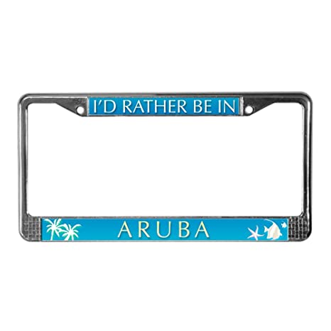 Amazon.com: CafePress - I\'d Rather Be In Aruba - Chrome License ...