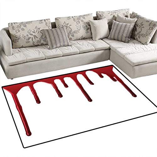 Horror Girls Rooms Kids Rooms Nursery Decor Mats Flowing Blood Horror Spooky Halloween Zombie Crime Scary Help me Themed Illustration Bath Mats for Floors 3'x5' Red White -