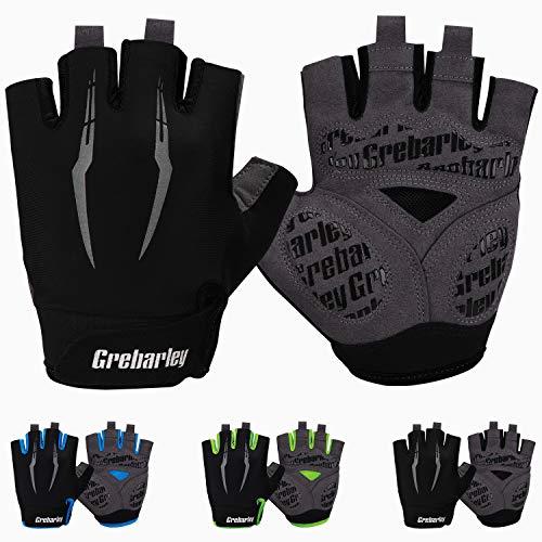 Grebarley Cycling Gloves Bike Gloves Mountain Road Bike Gloves Half Finger Bicycle Gloves Anti-slip Shock-absorbing Breathable Half Finger Bicycle Biking Gloves for Men & Women