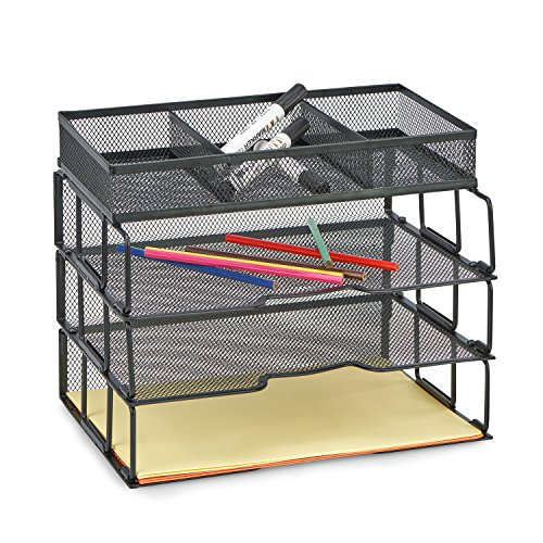 ProAid Mesh Office Desk Organizer 3-Tier Stackable Letter Tray Organizer Sorter with 3 Compartments, Black by ProAid (Image #2)