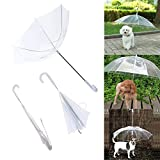 TYMX Pet Dog Umbrella Transparent Folding Waterproof Umbrella Raincoat with Leash Protection Pet Dog Rain Snow Wet Weather by Perfect Life Dry Unbreakable Easy Carrying (White)